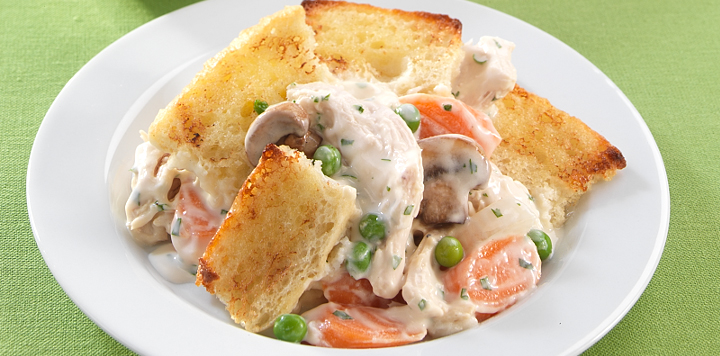 chicken pot pie with bread topping recipe